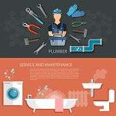 Plumbing service washing machine repair cleaning and sewer pipes plumbing tool banners poster