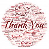 Concept or conceptual abstract thank you word cloud in different languages or multilingual for education or thanksgiving day, metaphor to appreciation, multicultural, friendship, tourism travel poster