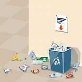 Illustration of littering waste that have been disposed improperly without consent at an inappropriate location around the dust bin near wall in interior. Garbage can is full of trash. Trash is fallen on the ground. poster