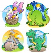 Four various cute dinosaur images 2 - vector illustration. poster