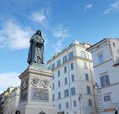 The Statue of Giordano Bruno on Campo de' Fiori in Rome Italy. poster
