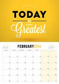 February 2016. Wall Calendar Planner for 2016 Year. Week Starts Monday. Vector Design Print Template with Typographic Motivational Quote on Yellow Background. Calendar Grid. Place for Notes. 3 Months on Page poster