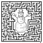 Funny maze game for kids. Visualor game for Preschool Children. Maze puzzle with snowman. Vector Labyrinth for preschool children. Rebus or quiz for school poster