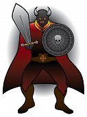 Fierce caped warrior with sword ready to do battle poster