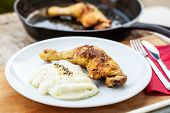 Roasted chicken leg and cauliflower puree with thyme poster