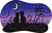 Lovers cats sitting on the roof of the house and look at the moon. poster