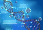 Illustration of Abstract Concept of biochemistry with dna molecule on blue background poster