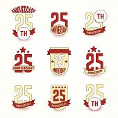 Twenty five years anniversary celebration logotype. 25th anniversary logo collection. poster