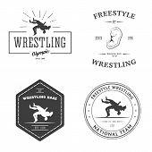 Set of sport signs. Wrestling theme. Templates for your gym, club, design. poster