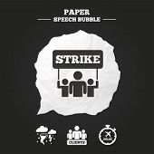 Strike icon. Storm bad weather and group of people signs. Delayed flight symbol. Paper speech bubble with icon. poster