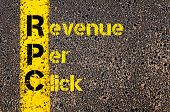 Concept image of Accounting Business Acronym RPC Revenue Per Click written over road marking yellow paint line. poster