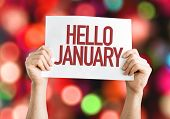 Hello January placard with bokeh background poster