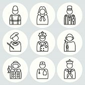 People profession icon set. Judge, artist, painter, referee, doctor, seaman, soldier, sailor, fisherman, builder, constructor, worker, policeman. Business avatar symbols. Vector poster