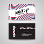 Business card - barber shop and barber pole vector design poster