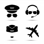 Stewardess, pilot, airplane silhouette. Black icons of aviator cap, stewardess hat and jet. Vector illustration. Isolated on white poster