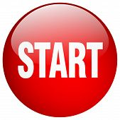 start red round gel isolated push button poster