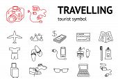 Travel icons set. Tourism, journey, vacation accessories symbol. Line signs. Travelling memo, instruction. Things for a trip. Vector isolated poster