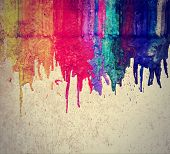 image from color and texture background series (melted coloring crayons) good for back to school theme or teaching school children primary colors done with a retro vintage instagram filter  poster