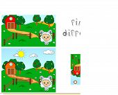 Rural landscape with barn corrals fruit trees and sheep. Educational game for kids: find ten differences. Vector illustration poster