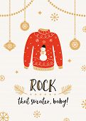 Ugly Sweater Christmas Party Invitation Card Template poster