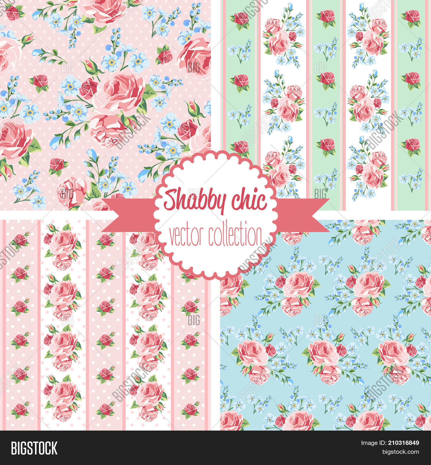 Shabby Chic Rose Vector Photo Free Trial Bigstock