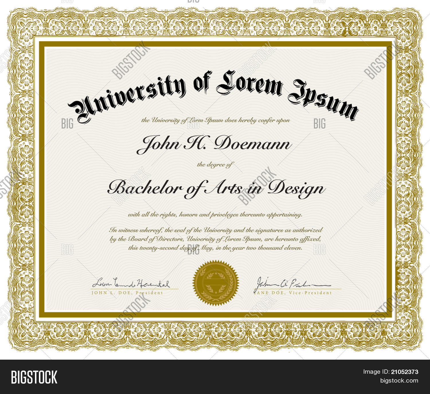 Vector Ornate Diploma With Border Easy To Edit Perfect For Diplomas Or Other