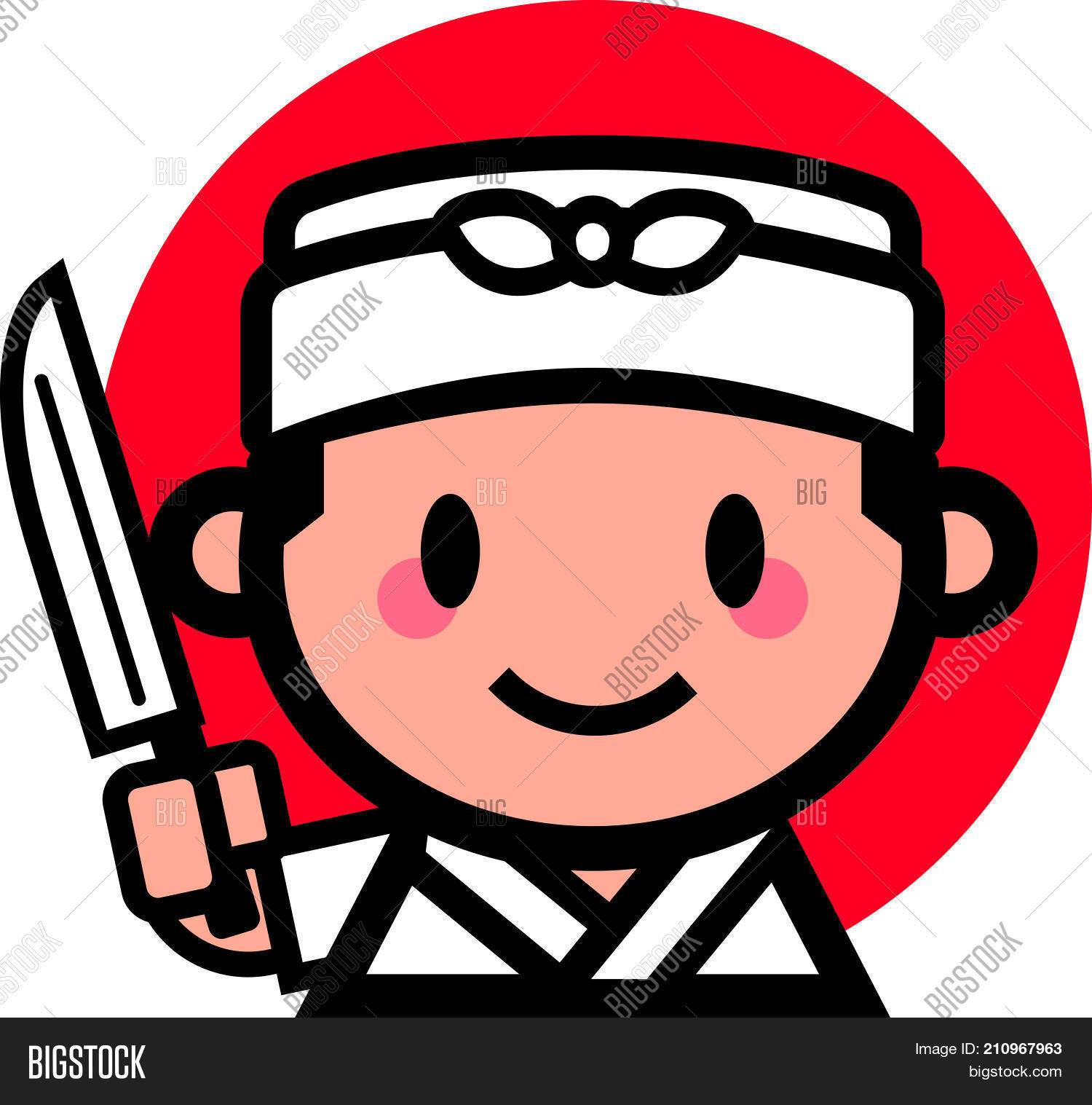 Cute Japanese Chef Smiling And Holding A Kitchen Knife Vector Mascot Character Illustration