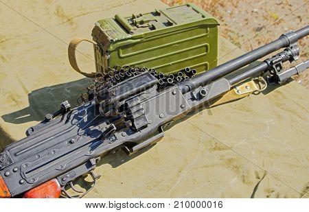 the new PK Machine gun Kalashnikov on a tarpaulin