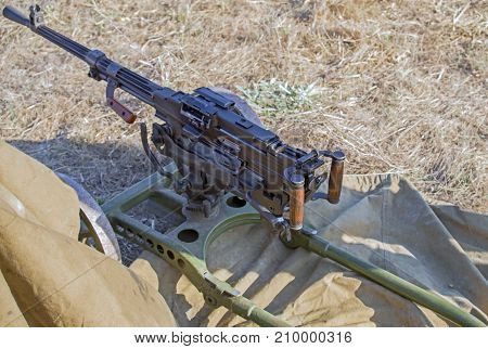 the Old Machine Gun on position in field