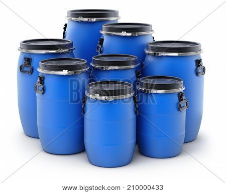 Blue plastic storage barrels on white background - 3D illustration