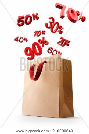 Sales discount icon pop out from shopping bag isolated on white background - 3D Rendering