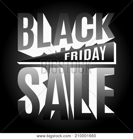 Black Friday holiday banner composed of luminous 3d letters