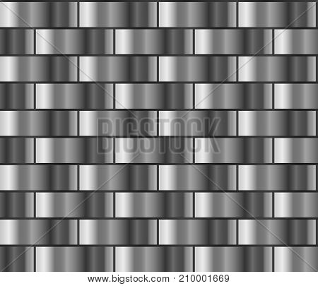 Silver seamless background with shingles of rectangles in checkerboard pattern. Silver gradient pattern