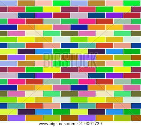 Multicolored colorful background of seamless brick texture. Vector design