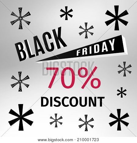 Black Friday holiday banner with snowflakes and discount percentage