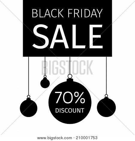 Black Friday holiday banner with hanging Christmas balls and discount percentage