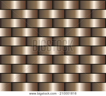Bronze seamless background in the form of a brick wall, chain mail. Bronze gradient pattern