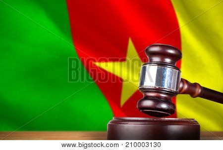 Hammer and gavel against 3d digitally generated cameroon national flag