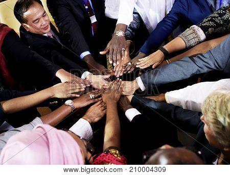 Diverse People Deal Teamwork Hands Together Partnership