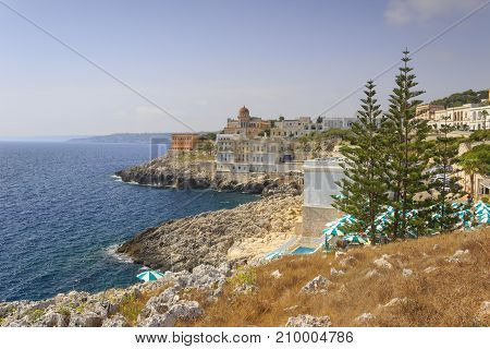 The most beautiful villages in italy: Santa Cesarea Terme (Apulia). The elegant Oriental profile of town overlooks the Adriatic from a top a plateau that plummets down to the sea.