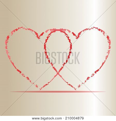 Vector illustration of Two Hearts . .