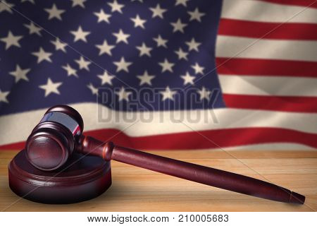 Hammer and gavel against 3d united states of america flag