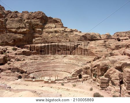 Aerial view of Petra amphitheatre in Jordan