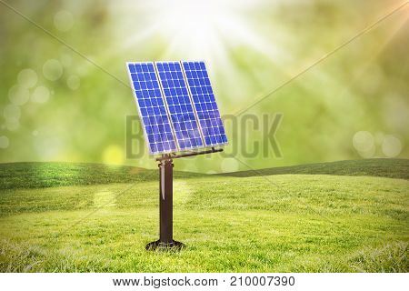 Image of 3D blue solar panel against field with glowing sky
