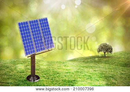 Image of 3D blue solar panel against field against glowing lights