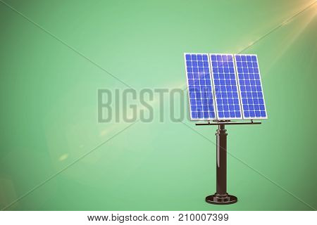 Graphic image of 3D blue solar panel against green background
