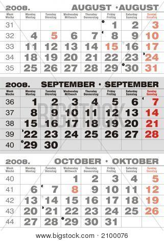 Business Three Months Calendar