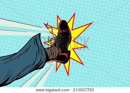 businessman kicking, pop art foot, retro vector illustration