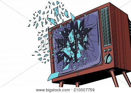 TV explodes, broken screen. Pop art retro vector illustration