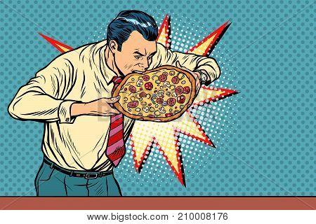 businessman bites pizza. Pop art retro vector illustration